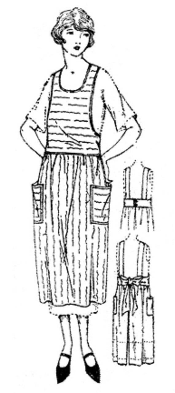 Vintage Aprons, Retro Aprons, Old Fashioned Aprons & Patterns 1925 Apron with Front Waist Extending into Belt: Circa 1925 Sewing Pattern by Past Patterns $11.95 AT vintagedancer.com