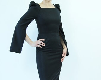 Little black dress, puff sleeves short black dress, black dress, LBD, evening dress, puff sleeve dress