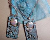 Pearl Pendant Moon Window Mermaid Ocean Sea Green Patina Copper Full Moon Skywatcher Open Door Lunar Cycle Sunken Treasure Tides Love Beach