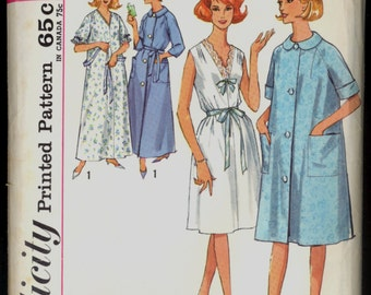 1960s Size S 10 12 Bust 31 32 Nightgown Robe  Simplicity 5001 Vintage Sewing Pattern Retro Small 60s