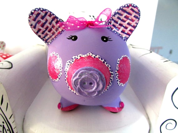 Baby Gift Piggy Bank : Personalized purple piggy bank baby gift ceramic coin