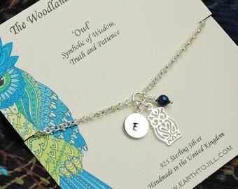 Sterling Silver Owl Bracelet, Personalized Owl Bracelet, Birthstone Bracelet, Initial Bracelet, Charm Bracelet, Mothers Bracelet WB102