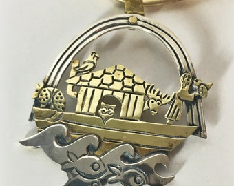 ON SALE—Vintage Jeep Collins Noah's Ark Necklace, Brass and Silver