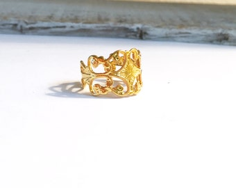 Beautiful Gold Vermeil Filigree Ring, Sterling Silver Filigree Ring, Rose Gold Filigree Ring, Wedding Jewelry, Statement Ring