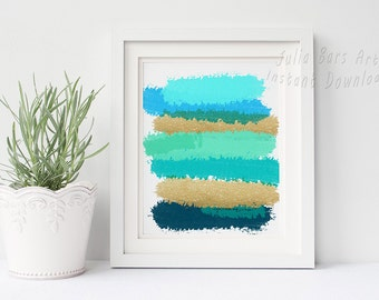 Merveilleux Blue Abstract Printable Art, Turquoise Wall Decor, Gold Glitter Print, Teal  Bathroom Decor