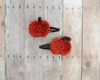 Pumpkin Hair Clip- Set of Two Pumpkin Barrettes
