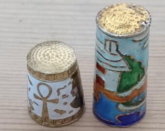 Two vintage enamel thimbles