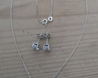 Vintage sterling silver and cubic zirconia necklace and earrings set