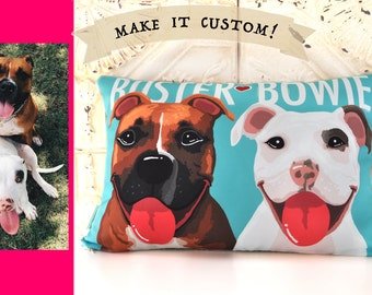 Pet Portrait Pillow, Personalized gift for pet lover