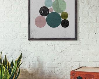 circle loft wall art geometric art printable industrial wall decor modern art - Loftwall