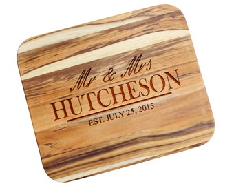 SHIPS FAST, Wedding Gifts for Couple, Wedding Cutting Board, Newlywed Gift, Wedding Gift Cutting Board Custom Engraved , Engagement - MT03