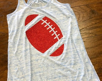 FREE SHIPPING Custom Football Tank, Football Shirt,  Flowy Racerback Tank Sizes S-2XL