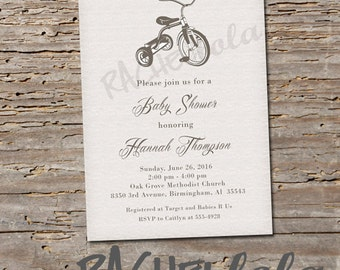 Tricycle baby shower invitation, printable, digital print, classic, simple