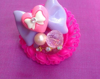 Pink and Purple Kawaii Statement Ring, sweet lolita, fairy kei, gyaru, girly, chunky, Harajuku
