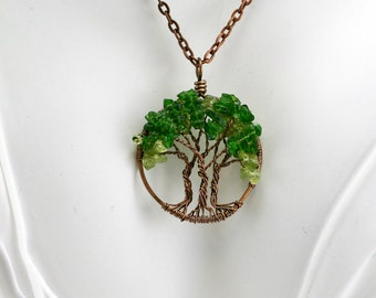Triple Tree Peridot and Chrome Diopside Tree Of Life Necklace Pendant Copper Chain Copper Wire Wrapped Tree Gemstone August Birthstone