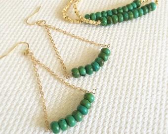 Turquoise Triangle Dangle Earrings
