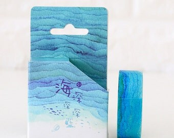 15mmX8M Watercolor Sea Wave Washi tape Masking Adhesive Tape