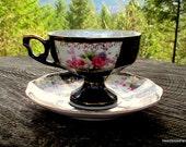 Made in Japan Black Porcelain Tea Cup - Rose Tea Cup - Pearl and Black Rose Tea Cup