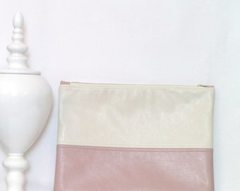 Oversize Clutch Bag / Fold over Clutch Bag /  Clutch Bag / Clutch Purse / Evening Bag / Handbag / Purse/ Pink and Parchment Faux Leather