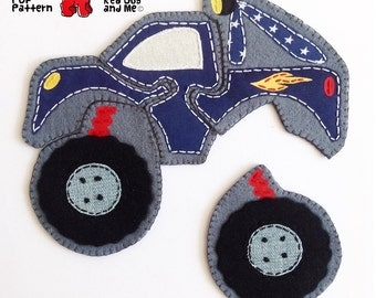 Monster Truck 5 piece Jigsaw Puzzle Easy Hand Sewing PDF Toy Pattern Soft Felt Toy