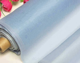 Silk Organza Fabric Light Blue Pure Natural Silk Material for Wedding Bridal Dress  (za 60 X Yards  /Meter or samples) online