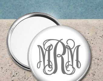 Monogram Pocket Mirror, Personalized Pocket Mirror, Custom Pocket Mirror, Wedding party gift, Gifts for Her, Gifts for All