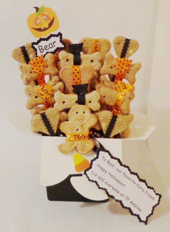 Etsy Dog Gift Baskets : Halloween dog treat gift basket biscuits personalized