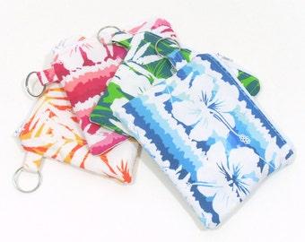 Coin Purse, Change Purse, Hawaiian Party Favor, Group Gifts, Pink Coin Purse, Blue Change Purse, Small Zipper Bag, Credit Card Holder
