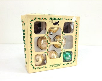 "6 Vintage ""Holly"" Glass Christmas Ornaments"