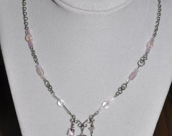 Upcycled Necklace Earrings Set Pink Silver Hand Wrought Wire Link  #884