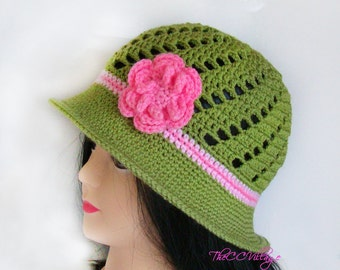 Green Crochet Womens Hats, Handmade Teen Hat, woman Cap , Crochet Beanie, with pink flower