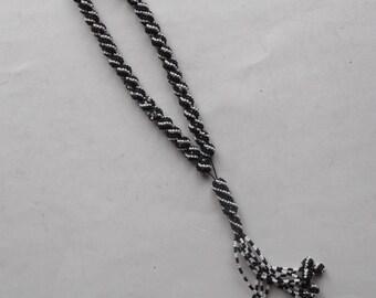 "vintage hand made beadwork black and white worry beads, ""komboloi"""