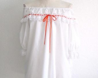 Malco Modes Square Dance Off Shoulder White Cotton Blend Shirt- XXL