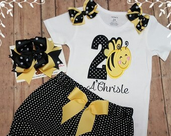 Birthday Bumble Bee Personalized Bodysuit And Handcrafted Bloomers With Hair Bow; 1/2, 1st, 2nd Birthday