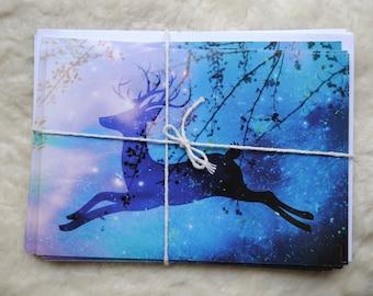 10 Pack Flying Reindeer Original Christmas Cards A5 + Envelopes