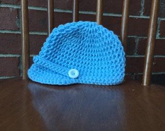 Crochet Baby Hat, Crochet Baby Boy Hat, Newsboy Hat, Hat For Baby Boy (0-6 months)