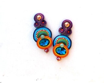 Oriental and Colorful Clip On Earrings, Handmade Soutache Earrings, Unique Sparkling Jewelry with Crystals