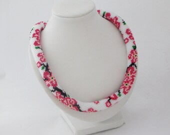 Romantic gift blossom jewelry pink necklace with flower sakura necklace tree jewelry pink sakura jewelry blossom necklace japanese jewelry