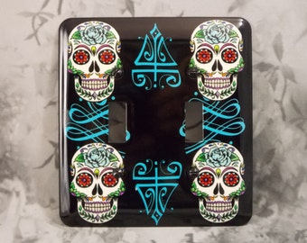 Metal Sugar Skull Light Switch Cover - Day of the Dead - 2T Sugar Skull Double Toggle Light Switch Covers