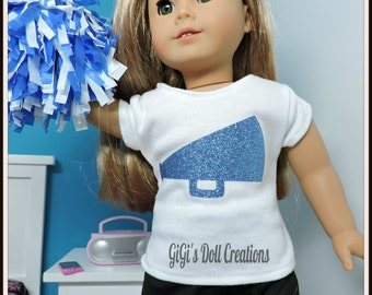Doll Cheer, Blue Glitter Cheer/Gymnast Practice outfit fits 18 inch Girl Dolls. American Made, 18 in Girl Doll, AG doll clothes