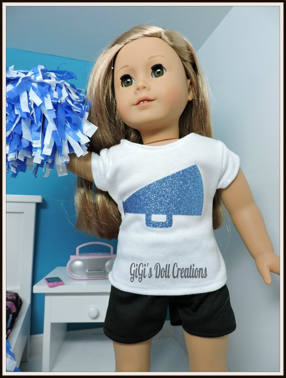 Doll Cheer Blue Glitter Cheer Gymnast Practice Outfit Fits 18