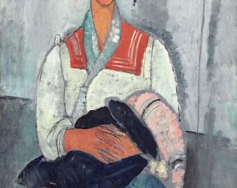 "Amedeo Modigliani : ""Gypsy Woman with a Baby"" (1919) - Giclee Fine Art Print"
