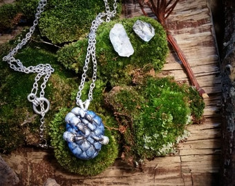 Hand sculpted Blue Dragon Egg Pendent Necklace