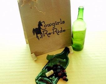 Slumped Wine Bottle Appetizer Tray/hostess gift/wedding present/man cave/groomsman gift/birthday present/boutique