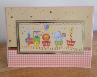 Birthday Card.  Circus Train Birthday Card With Gold Foiling For Little Boys and Little Girls Who Love The Circus, Animals and Trains.