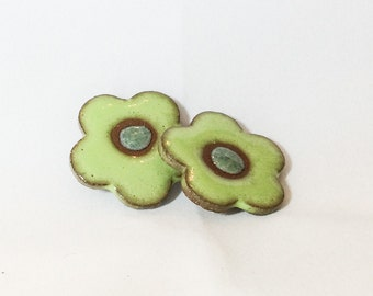 Ceramic Buttons - Flower Buttons - Lime & Kiwi