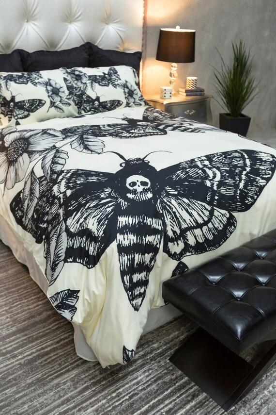 Featherweight Moth Skull Bedding Black Skull Death By