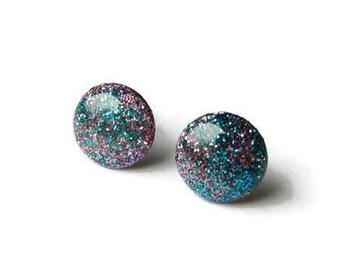 Round 10 mm purple blue glitter sparkle studs, nebula stud dot earrings, resin, titanium hypoallergenic posts, simple modern galaxy studs