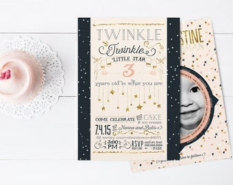 Twinkle Twinkle Little Star Birthday Party Invitations - Printable or Printed Constellation Starfinder Invites with Photo