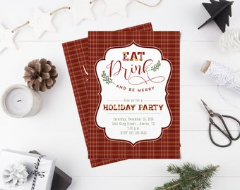 Eat, Drink, and Be Merry Christmas Party Invitation - Plaid Holiday Party Invite - Instant Download
